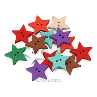 Quilt Accessories Buttons Nickel-Free Wholesale - 200pcs Mixed Star Shaped 2 Hole Wooden Sewing Buttons Scrapbooking 18mm 111633