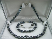 Wholesale Genuine Natural AAA MM South Sea Black Pearls Necklace Bracelet Earrings SET