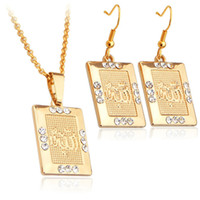 Wholesale New Fashion Islamic Allah Jewelry Set K Real Gold Plated Rhinestone Necklace Earrings Jewelry Set For Women S642