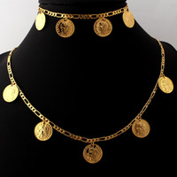 Bracelet,Earrings & Necklace african gold coins - Classic Coin Necklace Earrings Sets For Women K Real Gold Plated Chunky Chain Charms Vintage Jewelry Sets S395