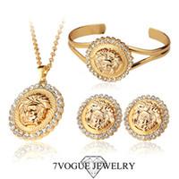 Bracelet,Earrings & Necklace Women's Party Vintage 18K Gold Plated Medusa Wedding Dress Jewelry Sets Fashion Rhinestone Pendant Earrings Bangle Jewelry Set For Women S3148