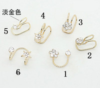 Wholesale Hotsale No Ear Pierced Ear Clip Earrings Silver Gold Plated EarClip Zircon Flower Design Stud Earrings Cuff Jewelry Unisex Ear Bones ZS