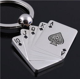10pcs 1lot NEW Fashion Playing CARDS style Stainless alloy steel key chain keychains best gift Free shipping GX-081