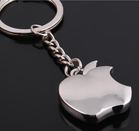 apple keychains - 10pcs NEW Fashion Apple style Stainless alloy steel key chain keychains best gift GX
