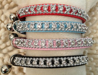 Wholesale Crystal Puppy Collars Free Shipping - Free shipping pet cat dog puppy collar leather sparkling rhinestones Bling crystal Cat Collar with Safety Elastic Belt & Bell