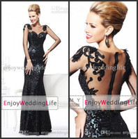 Wholesale 2014 Sexy New Sheer Long Sleeves Sequins Mermaid Evening Dresses Tulle Applique Beaded Floor Length Prom Gowns TR92105