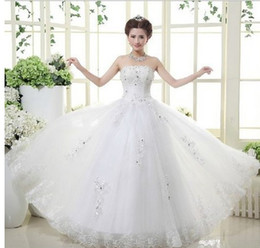 Wholesale new Style fashion Specials wedding dress elegant Korean princess Bra beautiful beaded bridal bow bride wedding dress