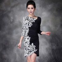 Wholesale Western Modern Women Fashion Dress Rose Printed Nip Waisted Short Sleeve OL Work Dress Sexy Hem New Dress D0060