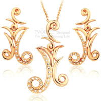Bracelet,Earrings & Necklace Women's Party Classic Vintage Design Fashion 18K Real Gold Plated Rhinestone Necklace and Earrings Jewelry Set For Women Party Dress S2026