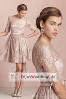 Wholesale 2014 New Sheer Sleeves Elegant Modest Lace Bridesmaid Dresses Knee Length Cocktail Gowns BO3766