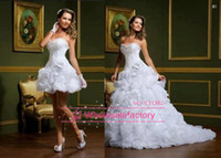 Wholesale 2014 Sexy vestido de noiva White A Line Wedding Dresses Strapless two in one Detachable Skirt Mini Short Court Train Bridal Gowns LT89