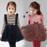 Wholesale 2 Y Fashion Spring Autumn Fall Baby Girl Child kid Long sleeve Party Princess TUTU Striped Yarn Ball Gown Wine Red Dresses H01402013