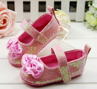 Girl baby in crib - Newest In Fashion Girls Pink Sequins Ballet Crib Walking Shoes Infant Baby Girls soft soled First shoes CM Accept Size Choose Melee