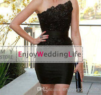 Wholesale 2014 Sexy New Strapless Little Black Satin Mini Sheath Cocktail Dresses Lace Applique Beaded Short Party Gowns