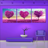 More Panel Fashion Landscape 3 Piece Free Shipping Hot Sell Modern Wall Painting Home Decorative Art Picture Paint on Canvas Prints Purple dream, heart-shaped tree