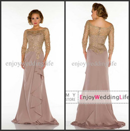Wholesale 2014 Sexy New Sheer Long Sleeves Lace Top Chiffon Ruffles Floor Length Mother of The Bride Dresses D_
