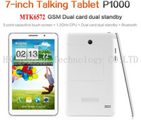 Wholesale P1000 Unlocked Inch MTK6572 Dual Core Tablet Phone Android Dual Sim Card G GSM Phone Call GPS Bluetooth Dual Camera Tablet PC VIA DHL