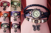 Wholesale Hotsale Mix Colors Cow Leather women Watches Leather leaf Butterfly Watches LP010