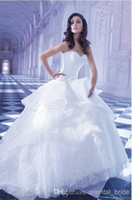 A-Line Reference Images Sweetheart 2014 Demetrios A-Line Lace Wedding Dresses Sweetheart Ruched Chapel Train Lace Up Bridal Gowns