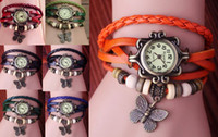 Wholesale Hotsale Mix Colors Cow Leather women Watches Leather Butterfly Pendant bracelet Watches LP024