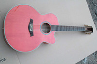 Pink basswood veneer - Hot Sell New Guitar Pink Missing angle string veneer INCH Acoustic Electric Guitars with fishman fisherman Case