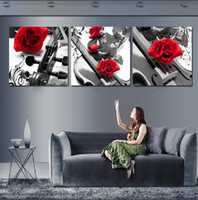 Wholesale 3 Pieces Hot Sell Modern Wall Painting Home Decorative Art Picture Paint on Canvas Prints Brilliant red roses and black and white violin