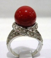 Wholesale Red Coral Bead Silver Crystal Ring Size pc