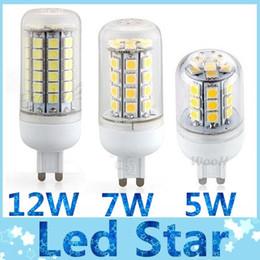 E27 ce smd en Ligne-CE ROHS + G9 SMD Led 5W 7W 12W ampoules avec couvercle transparent E27 E14 GU10 lumières spot lumineuses chaud / froid blanc angle 360 110V 220V