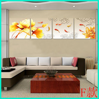 More Panel Oil Painting Abstract Large 5 Panel 9 Koi Fish Chinese Style Oil Painting on Canvas Wall Art Picture Feng Shui Home Decor L0008