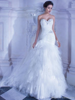 A-Line Reference Images Sweetheart 2014 Charming Demetrios Mermaid Wedding Dresses Sheer Sweetheart Crystal Beads Ruffled Tulle Bridal Wedding Gowns