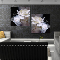 Cheap 2 Panel Modern Painting Home Decorative Art Picture Paint on Canvas Prints Black and white painting beautiful white flowers