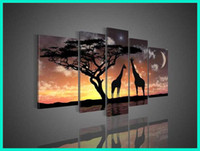 More Panel Oil Painting Abstract Large 5 Panel African Canvas Art Modern Oil Painting Sunset Africa Wall Art Set Giraffe Picture for Bedroom Decoration L0016