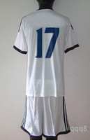 Wholesale Top Quality Away Soccer Uniform White Chelsea Jerseys and Short Embroidery Logo Hazard