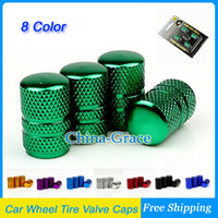 Wholesale 2Sets Universal Aluminum Round Design Car Wheel Tyre Air Valve Caps Bicycle Tire Valve Cap