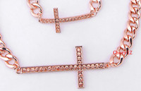 Wholesale Gold Cross Necklace And Bracelet Set Rhinestone Pendant Chain High Quality Fashion Jewelry