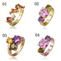 Wholesale Mixture Styles Gemstone Rings Gold K Rose Gp Colorful Clear Swarovski Crystal Elements Fashion Jewelry1246