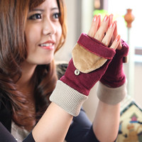 Fingerless Gloves Wool Pink 16 winter wool cashmere gloves female semi-finger flip gloves female yarn thermal gloves