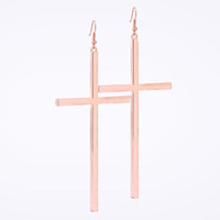 Wholesale Gold Cross Earrings Large Size Simple Style Smooth Surface Fashion Jewelry Party Earring Best Gift