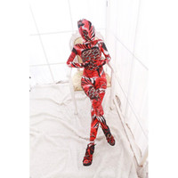 Unisex red zentai catsuit - Vogue Red Animal Pattern Combination Full Body Dupont Zentai Catsuit