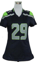 Wholesale 2014 Super Bowl XLVIII American Football Jersey Woman s Earl Thomas Blue White Green Grey Girl Football Jerseys Sewing Name Numbe
