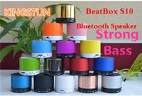 Wholesale S10 Metal Mini Portable BeatBox Hi Fi Bluetooth Wireless Speaker TF Slot Handfree Mic Stereo Portable Speakers Free dhl