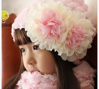 Wholesale Baby Girls Spring Chiffon Flowers Applique Rose Cover Fancy Hats Kids Spring Caps Pink Red Floral Toddler Cotton Inner Hats Wear B2868