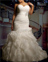 Wholesale 2014 New Custom Plus Size Sexy Sweetheart Strapless Beautifully Organza Mermaid Wedding Dress Bridal Gown Cascading Ruffles Wedding Dresses