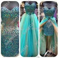 Wholesale 2014 New Mini Short Hi lo Pageant Dresses Beaded Crystals Prom Evening Gowns Cocktail Dress Detachable Organza Tulle Skirt Real Picture