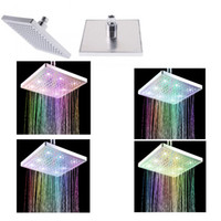 Wholesale 8 quot inch Square Colors Changing LED Shower Head Sprinkler H4746 C7