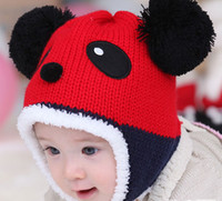 Unisex thermal protector - 2014 Winter Hot Panda Beanie Hats Kids Velvet Thicken Baby Thermal Protector Ear Cpas For month years B2869