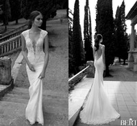 Wholesale berta lace wedding dresses sheer backless glamorous appliques v neck sexy sheath garden bridal wedding gowns high quality