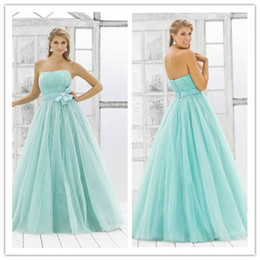 Wholesale LM Store Online On Sale Sexy Strapless Pageant Dress Baby Blue Ball Gown Tulle Sash Sequins Sleeveless Floor Length Prom Dresses