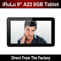 Wholesale 9 quot Android Dual Core A23 Tablet GB MB Dual Camera Capacitive Screen WiFi inch iRuLu ePad Tablet With Free Stylus Pen