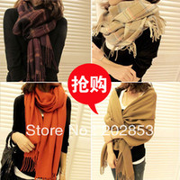 Scarves Plaid Adult Free Shipping Autumn and winter women's cashmere yarn muffler scarf air conditioning cape dual-use ultra long plaid scarf